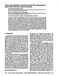 Atomic layer deposition of hafnium silicate films using hafnium ...