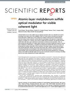 Atomic-layer molybdenum sulfide optical modulator for visible ...