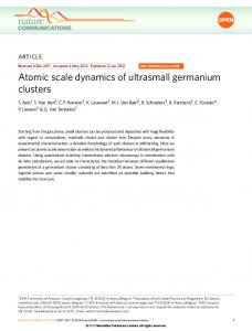 Atomic scale dynamics of ultrasmall germanium clusters - Nature