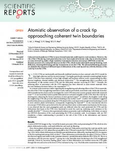 Atomistic observation of a crack tip approaching coherent twin ...