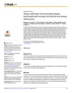 Atopic asthmatic immune phenotypes associated ... - Semantic Scholar