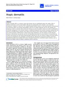 Atopic dermatitis - Allergy, Asthma & Clinical Immunology - BioMed ...