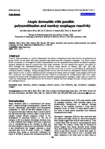 Atopic dermatitis with possible polysensitization and monkey ...