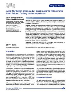 Atrial fibrillation among adult Saudi patients with