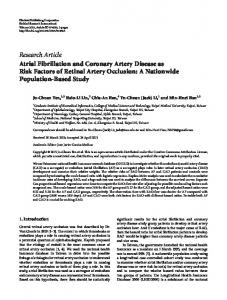 Atrial Fibrillation and Coronary Artery Disease as Risk Factors of ...
