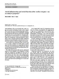 Atrial inflammation and atrial function after cardiac surgery: can we ...