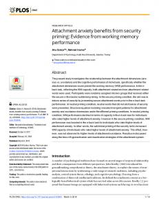 Attachment anxiety benefits from security priming: Evidence ... - PLOS