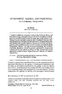 Attachment, mating, and parenting - Springer Link