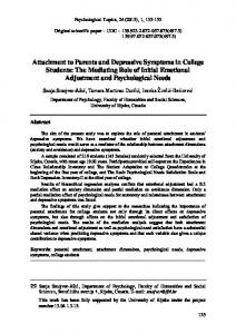 Attachment to Parents and Depressive Symptoms in College Students ...