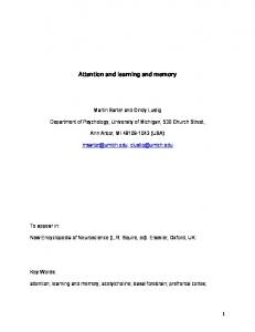 Attention and learning and memory