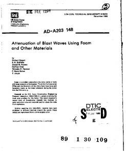 Attenuation of Blast Waves Using Foam and Other Materials - Defense ...