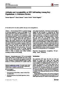 Attitudes and Acceptability on HIV Self-testing Among Key Populations ...