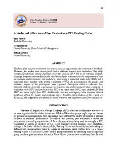 Attitudes and Affect toward Peer Evaluation in ... - The Reading Matrix