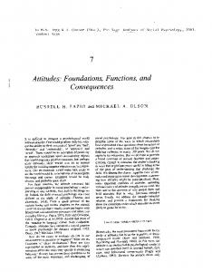 Attitudes: Foundations, Functions, and - psychology at Ohio State ...