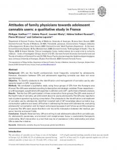 Attitudes of family physicians towards adolescent cannabis users: a ...