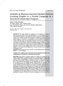 Attitudes of Mexican American Students Towards Learning English ...