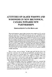 Attitudes of older widows and widowers in New ... - Springer Link