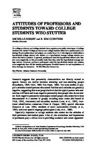 attitudes of professors and students toward college students who stutter