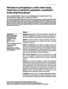 Attitudes to participating in a birth cohort study ... - Wiley Online Library