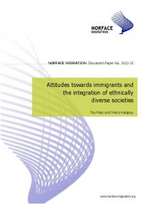 Attitudes towards immigrants and the integration of ethnically diverse ...