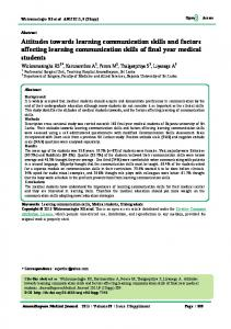 Attitudes towards learning communication skills and factors affecting ...