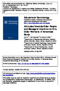 Attitudes Towards Older People and Managers' Intention to Hire Older ...