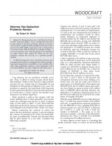 Attorney Fee Deduction Problems Remain - 02/07/11 - SSRN papers