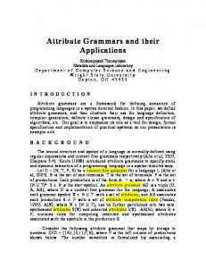 Attribute Grammars - College of Engineering and Computer Science