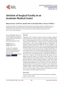 Attrition of Surgical Faculty in an Academic Medical Center - Scientific ...