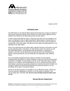 Atwood Water Heater Service Manual