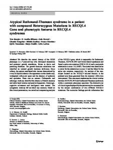 Atypical Rothmund-Thomson syndrome in a patient with compound ...