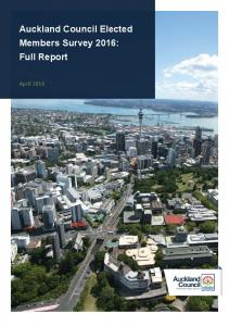 Auckland Council Elected Members Survey 2016: Full Report