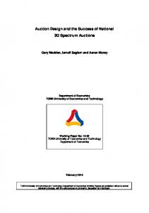 Auction Design and the Success of National 3G Spectrum Auctions