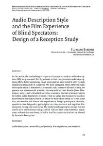 Audio Description Style and the Film Experience of Blind Spectators