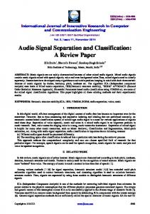 Audio Signal Separation and Classification: A