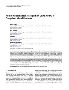 Audio-visual speech recognition using mpeg-4 ... - Semantic Scholar