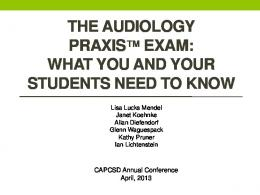 Audiology Praxis Update - capcsd