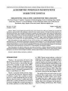 audiometric findings in patients with subjective tinnitus