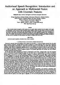 Audiovisual Speech Recognition: Introduction and ... - Semantic Scholar