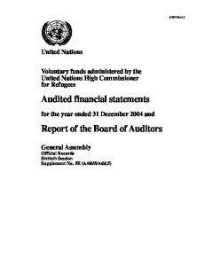 Audited financial statements Report of the Board of Auditors - UNHCR