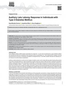 Auditory Late Latency Response in Individuals with Type 2 Diabetes