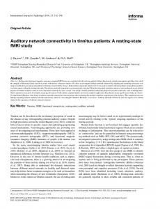 Auditory network connectivity in tinnitus patients: A ... - BioMedSearch