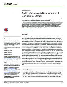 Auditory Processing in Noise: A Preschool