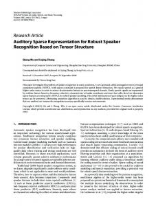 Auditory Sparse Representation for Robust Speaker Recognition