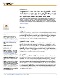 Augmented frontal cortex diacylglycerol levels in Parkinson - PLOS