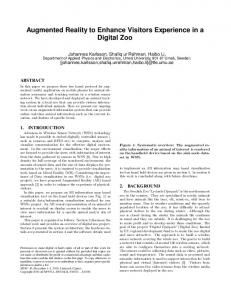Augmented reality to enhance visitors ... - ACM Digital Library