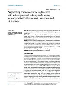 Augmenting trabeculectomy in glaucoma with ... - CiteSeerX