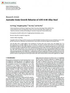 Austenite Grain Growth Behavior of AISI 4140 Alloy ... - SAGE Journals
