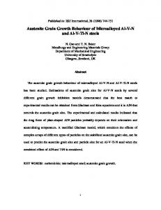 Austenite Grain Growth Behaviour of Microalloyed Al ... - ePrints Soton