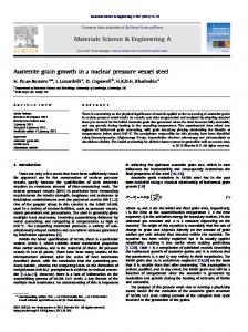 Austenite grain growth in a nuclear pressure vessel ...